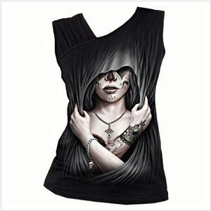 DEAD LOVE - Gathered Shoulder Slant Vest Black
